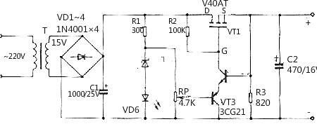 场效管直流稳压电路图
