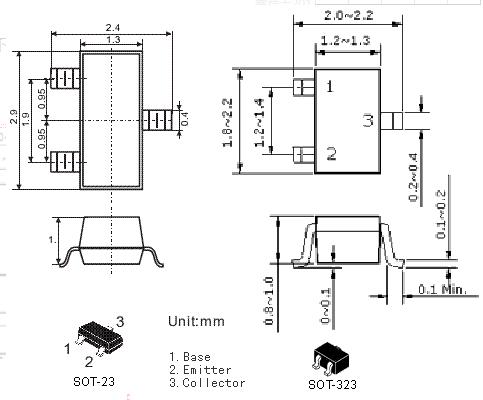 贴片三极管SOT-323封装